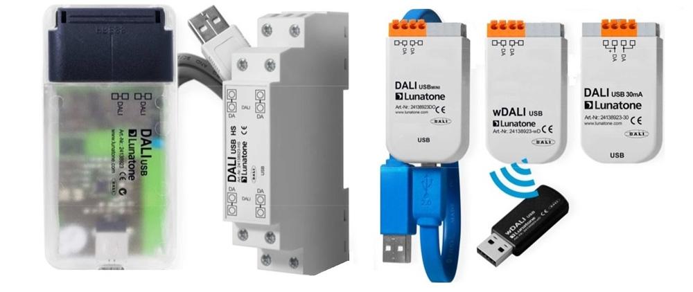 Komunikačné rozhranie DALI/USB, LAN, Bluetooth (programátor)
