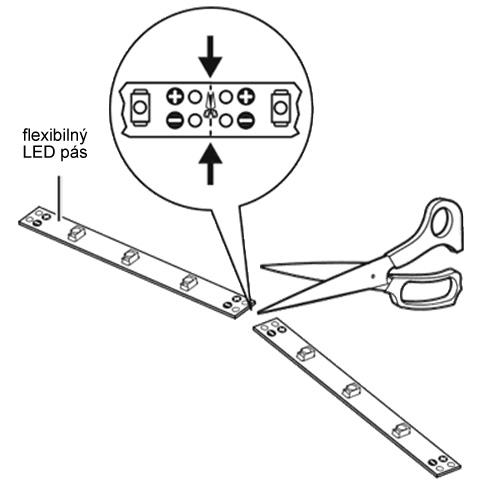 Zapojenie LED pásov - príprava kontaktov, letovanie a nalepenie