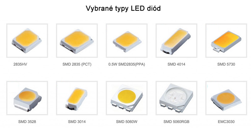 Vybrané typy SMD LED diód 2835, 3528, 5050, 3014, 5730, RGB