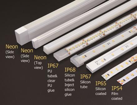 Flexibilné LED pásy sa vyrábajú s rôznou ochranou proti vlhkosti a poveternostným podmienkam