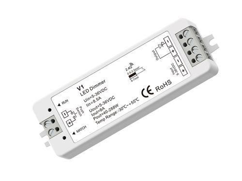LED stmievač/prijímač 1x8A, 5-36V DC (12V/96W, 24V/192W), push-dim, pre ovládač LC-SD-R6
