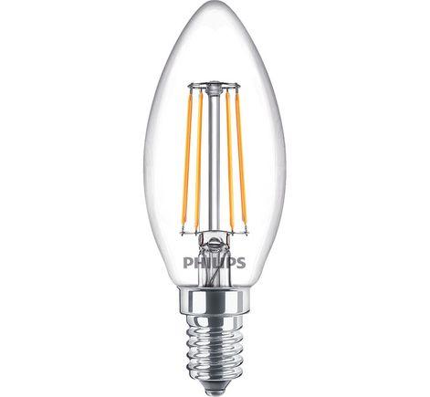 LED žiarovka vláknová číra sviečka E14, 4.2W, 470lm, 2700K, teplá biela, 230V