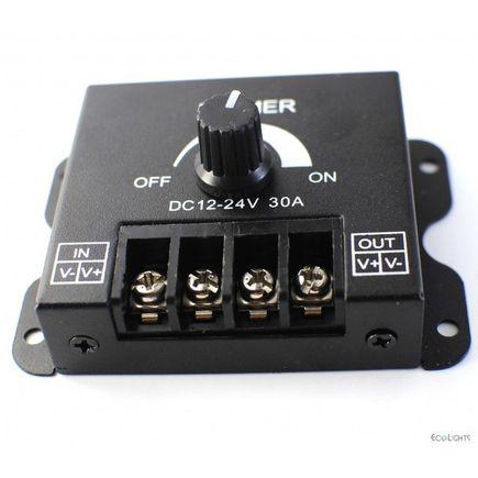 Otočný nástenný PWM stmievač pre LED pásy, DC12-24V, max 30A, 66x62x35m, farba čierna