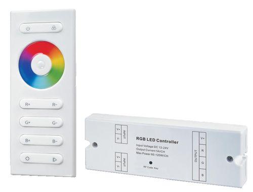 RGB kontrolér 12V-24VDC, 3x 5A na kanál , Dialkové napájanie 3x AAA bateria
